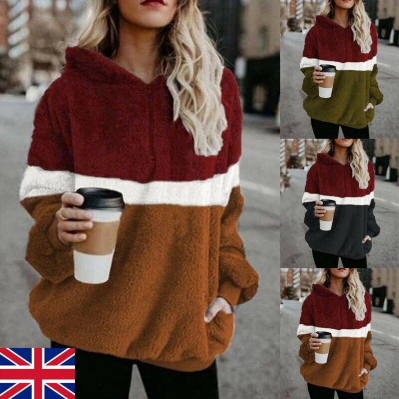 S-XXXL Harajuku Casual Color Patched Hoodies Sweatshirts Women Long Sleeve Zip Fleece Cozy Pullover Tops Outwear Coat For Women