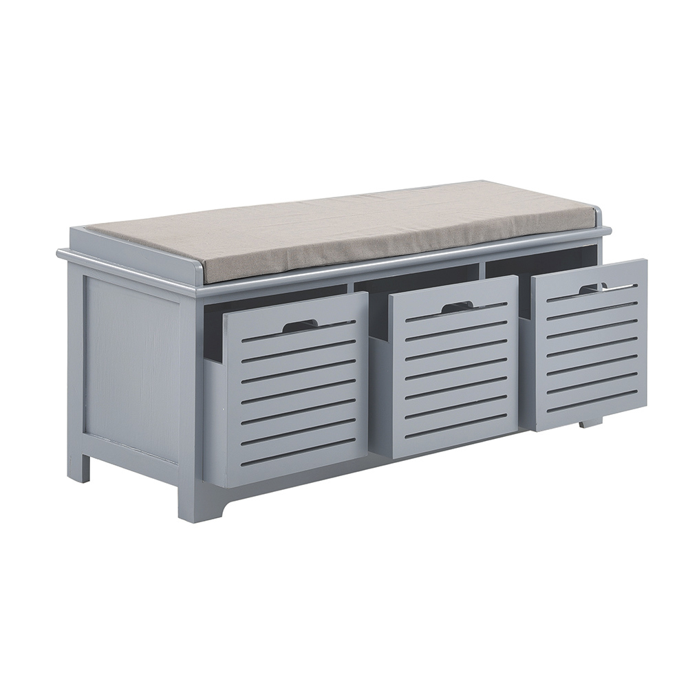 Panana Home Entrance Shoes Cabinet White Bench With Storage Drawers Hallway Seating Padded Stool Fast Delivery