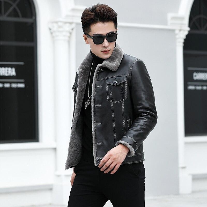 Men's Winter Genuine Leather Jacket Real Lamb Fur Sheepskin Coat For Men Short Thick Male Wool Casual Jackets KJ848