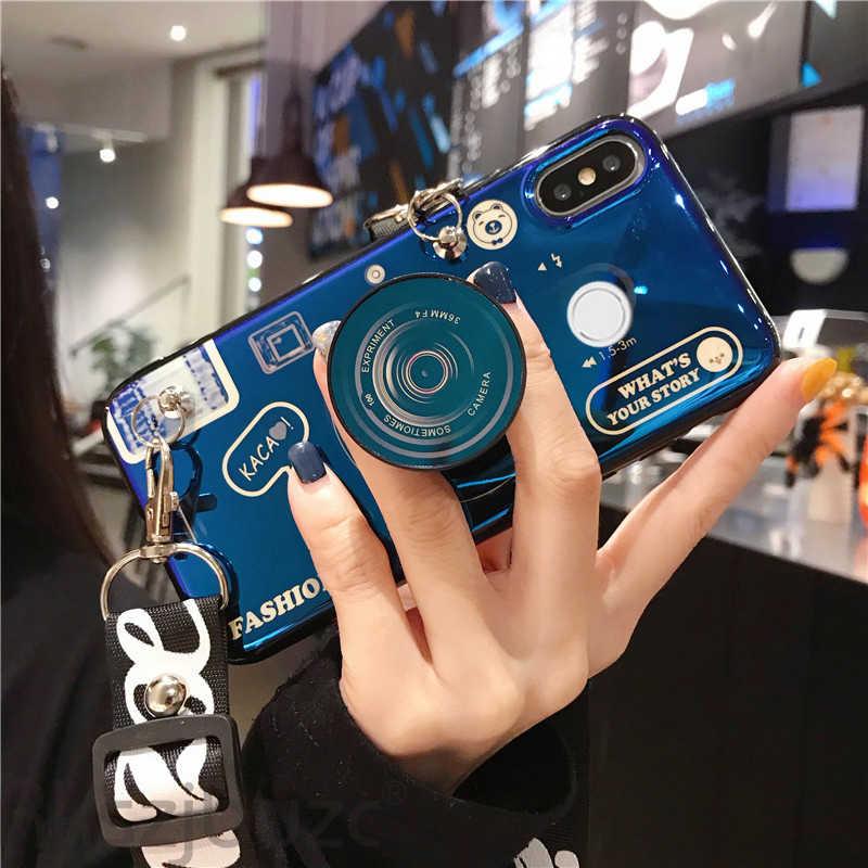 3D Retro Camera lanyard Case Voor Xiao mi mi 9 t 9 SE A1 A2 A3 MI 8 max 2 3 mi x3 spelen Rode Mi K20 pro POCOPHONE F1 STANDHOUDER CASE