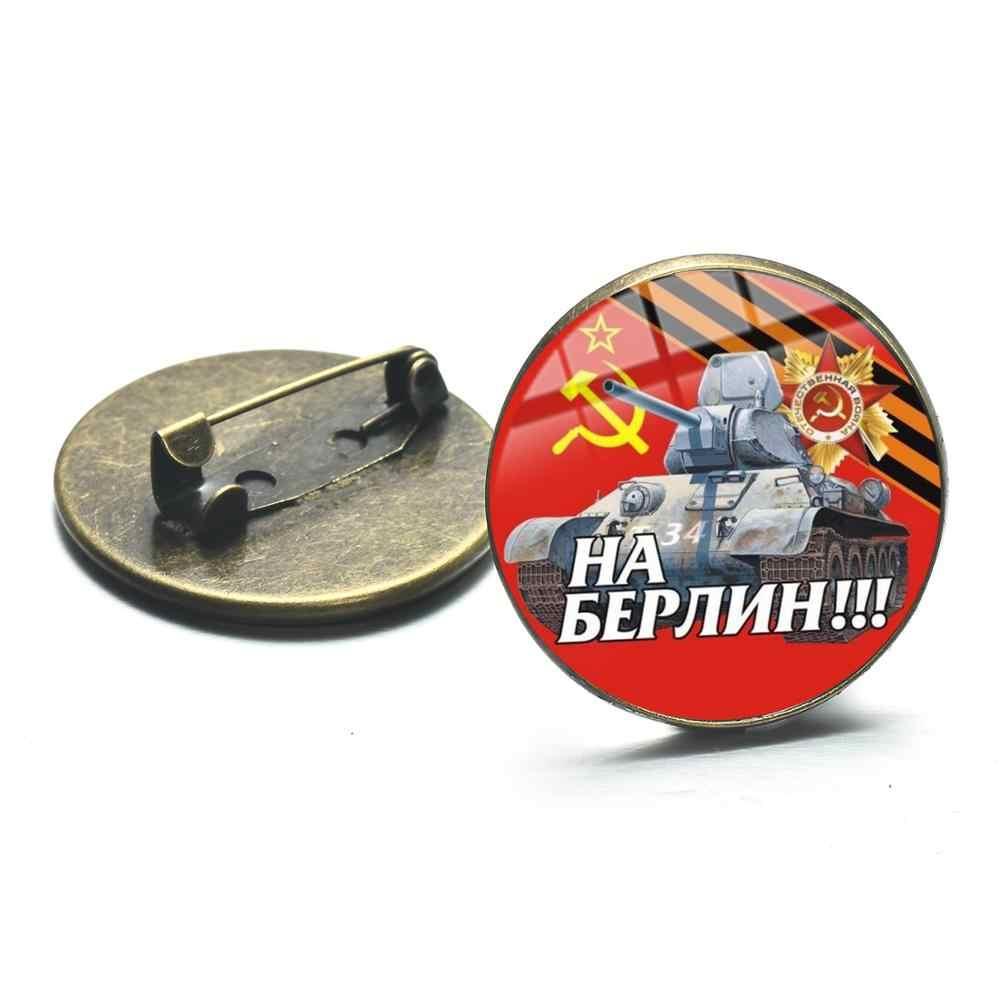 SONGDA Pro Kitty Uni Soviet Tentara Soviet Bintang Merah Bros Perunggu Berlapis Kaca Seni Round Pin Logam Button Bahasa Rusia Lencana Perhiasan Dekoratif