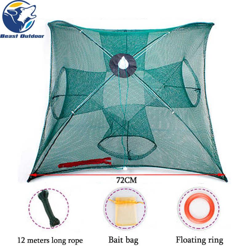 つ折りポータブル 20 穴漁網ネットワーク鋳造ザリガニキャッチャーエビミノーカニ餌トラップケージメッシュ魚ネット中国
