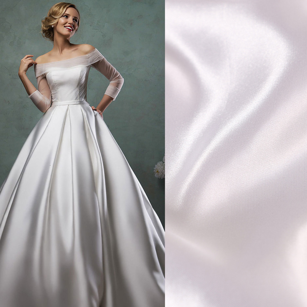 High Quality Width 150cm White Satin Cloth Handmade DIY For Wedding Evening Dress Party Fabric