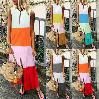 2019 Summer New Style Europe And America WOMEN'S Dress V-neck Sleeveless Long Loose Cotton Linen Dress