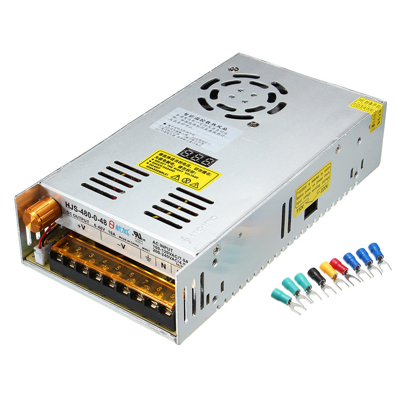 CLAITE Switching Power Supply Transformer Adjustable AC 110/220V to DC 0 48V 10A 480W with Digital Display|Portable Lighting Accessories| |  - title=