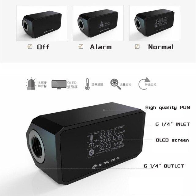 Bykski Thermometer Water Cooling System Monitor Flowmeter Leaking Pump Speed Alarm RPM Temperature Sensor PC Cooler B-TFC-CS-X 5
