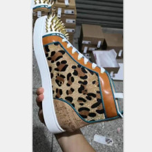 2019-20 Rhinestones Men's Sneakers Leopard Pattern Spikes Rivets Flats Shoes Men