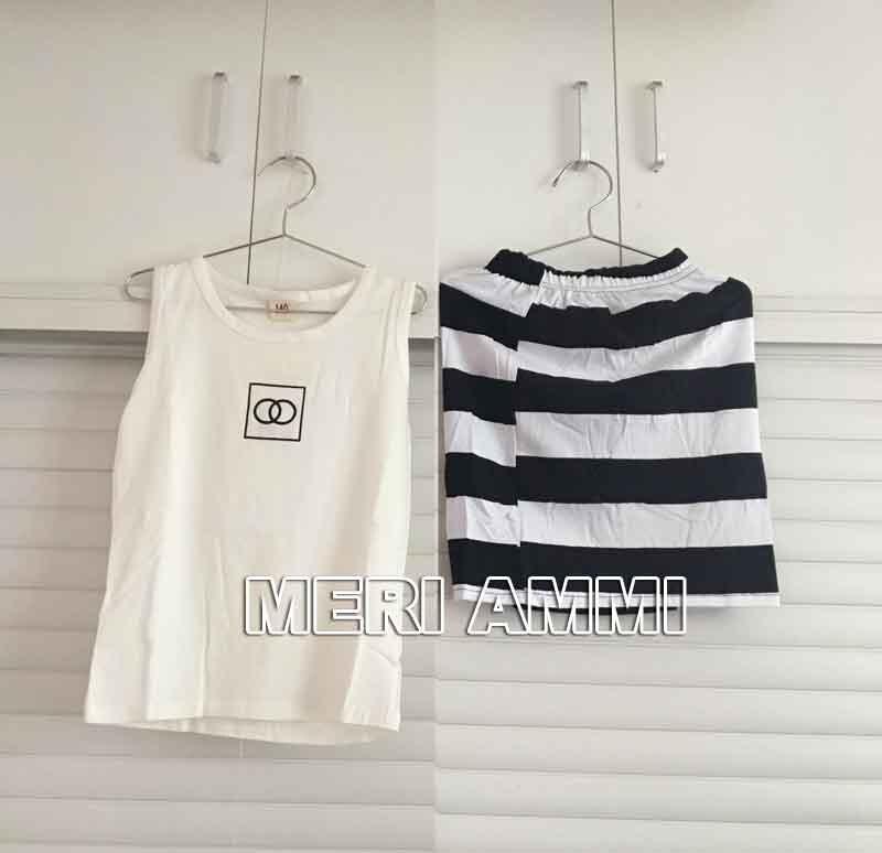 MERI AMMI/комплект одежды из 2 предметов, комплект для малышей, черный топ+ рубашка в полоску, облегающая модная одежда, облегающий наряд для девочки 2-9 лет, J556 - Цвет: Белый