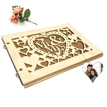 10 20 30 40 stron DIY Photo Book podpis dekoracje ślubne księga gości A4 rozmiar spersonalizowany podpis księga gości niestandardowe drewno tanie i dobre opinie CN (pochodzenie) litera Serce