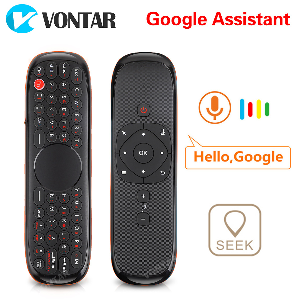 Controle remoto de voz 2.4 ghz teclado sem fio mouse ar w2 ir aprendizagem microfone giroscópio para android caixa tv h96 max x88 pro