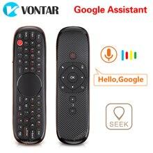 Teclado inalámbrico W2 con Control remoto por voz, 2,4G, Air Mouse IR, micrófono de aprendizaje, giroscopio para Android TV Box H96 MAX X3 X88 Pro