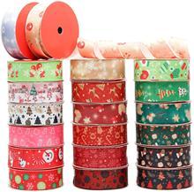 20 rollos de 1 pulgada de ancho 110 yardas cinta de Grosgrain estampada para Navidad cintas para fiesta para regalo de Navidad envoltura de paquete DIY adornos para manualidades