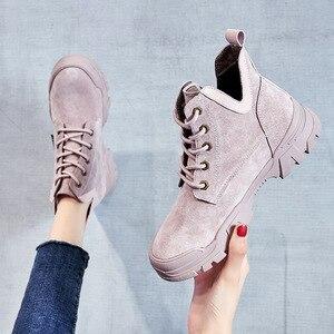 Image 3 - 2020 chính hãng Ủng Da Cá Nữ Thời Trang Giày Sneakers Nữ Phẳng Nền Tảng Giày Boot Nữ Bootties Thu Giày