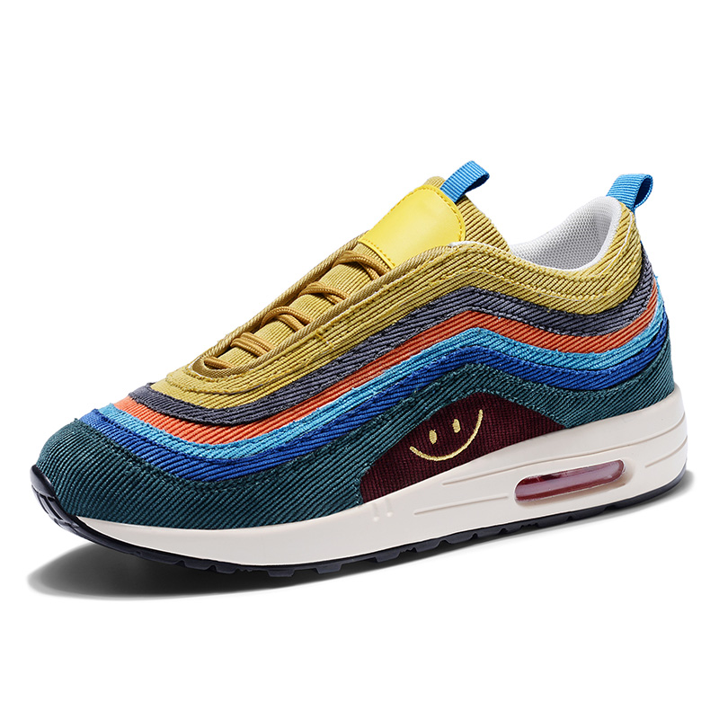 2019 New Balenciaca Shoes Brand Air 97 Rain Bow Color Nice Air Bottom Off White Sock Sneaker Women And Men Flyknit Running Shoes