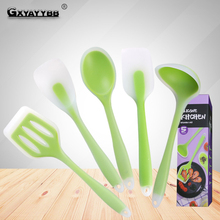 5pcs/6pcs/set Silicone Cooking Set Food Grade Translucent Kitchen Tools Non-Stick Spoon Spatula Heat-Resistant Utensils