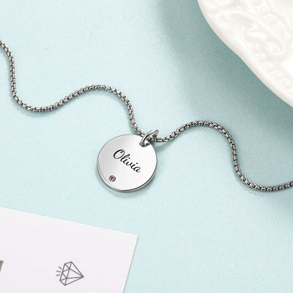 Personalized Terukir Awal Kalung dengan Birthstone Stainless Steel Nama Kustom Kalung Bulat Liontin untuk Wanita Perhiasan