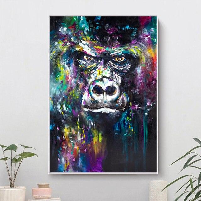 Aquarelle Art mur imprime Animal orang-outan toile peinture singe affiche peinture abstraite mur photos pour salon décor
