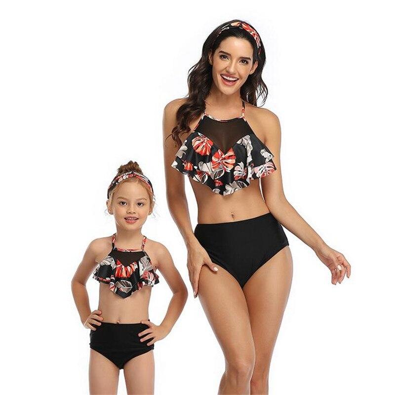 Family Matching Summer Women Kid Baby Girls Geometric Pretty Bikini Bathing Suit Swimwear Swimsuit