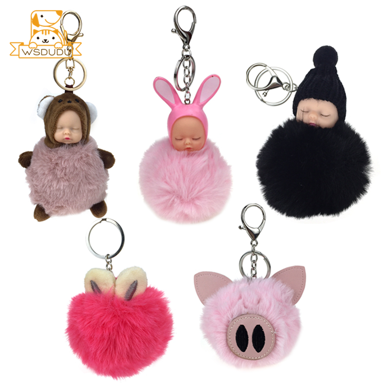 Rabbit Ears Pompons Keychains <font><b>Plush</b></font> Stuffed <font><b>Toys</b></font> Bunny Animal Hairball Dolls Fur Bag Balls Cute Pendant <font><b>Key</b></font> <font><b>Chains</b></font> Fluffy Gifts image