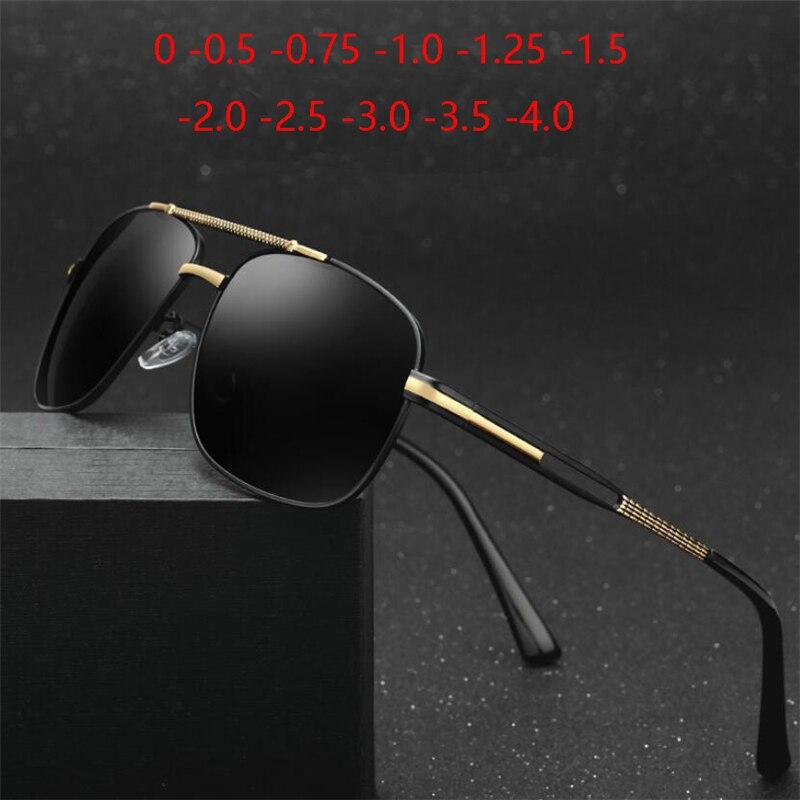 Classic Polarized Sunglasses Men Metal Driving  Gray Myopia Lens Prescription Spectacle 0 -0.5 -0.75 -1.0 -1.25 -1.5 To -6.0