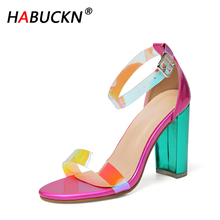 HABUCKN High Quality PVC Clear Transparent Strappy Buckle Sandals Women Sandals Shoes Celebrity Wearing Simple Style High Heels