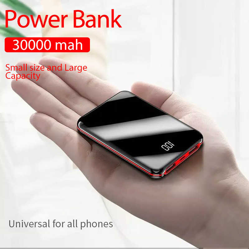 Portable Mini 30000 MAh Power Bank untuk Semua Ponsel Power Bank Pover Charger 2 Port USB Baterai Eksternal poverbank