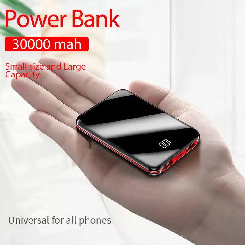 Portable Mini 30000 MAh Power Bank For All Mobile Phone Power Bank Pover Bank Charger 2 USB Ports External Battery Poverbank