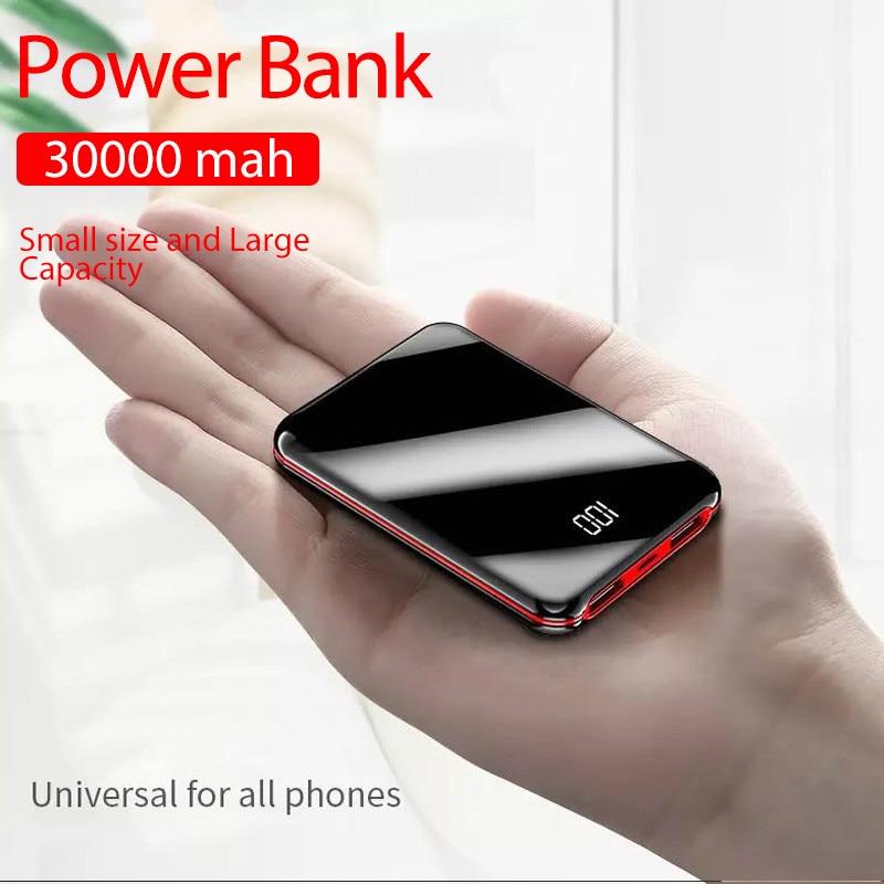 Portable Mini 30000 MAh Power Bank For All Mobile Phone Power Bank Pover Bank Charger 2 USB Ports External Battery Poverbank(China)
