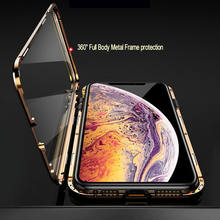 Metal Magnetic Adsorption Case For iPhone XS MAX X XR 6S Plus Double Sided Tempered Glass Magnet For iPhone 7 8 Plus 11 SE2 12