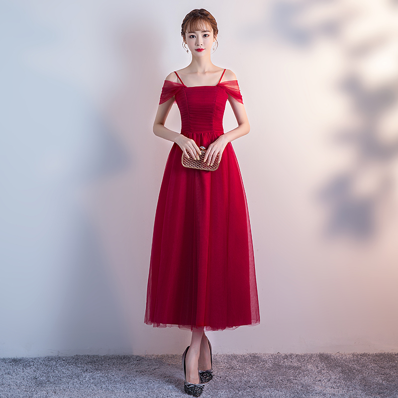 Women Dress Red For Bridemaide Plus Size Tulle Dress Elegant Tea-Length Vestido Azul Marino New Years Eve Dress Sexy Prom Party