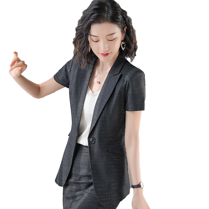 Female Elegant Formal Office Work Wear Summer Skirt Suit For Women Suits Navy Blue Blazer And Jacket Sets Ladies Uniform Styles
