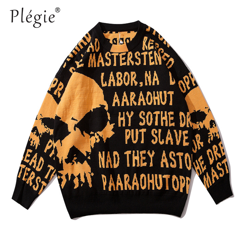 Plegie Orange Skull Printed Pullover Sweater Men Knitted Pullover O-neck Sweaters  Hip Hop Unisex Casaco Masculino Streetwear