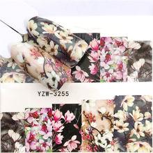 YWK 1 sayfalık 2020 leopar/siyah gül/çiçek Nail Art su çıkartmaları transferi Sticker manikür tırnak dekorasyon
