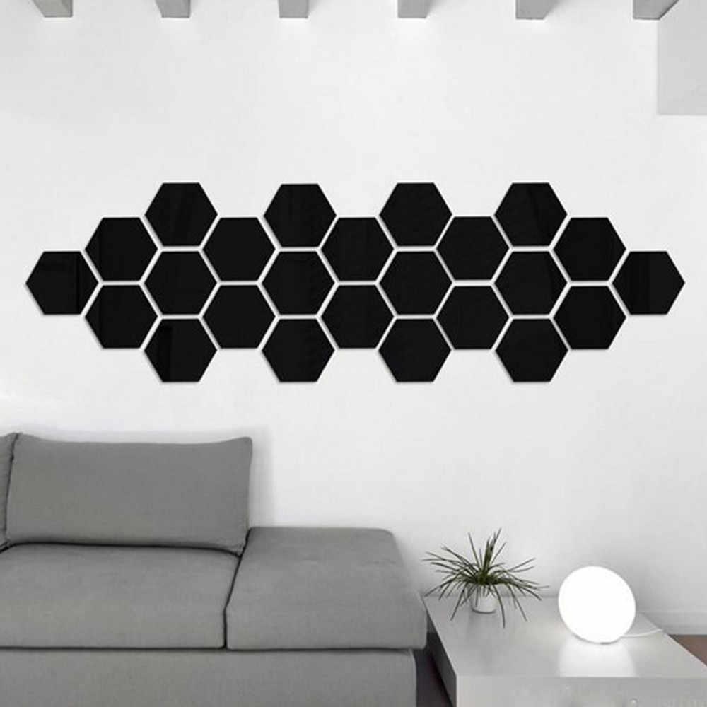 12Pcs 3D Mirror HexagonไวนิลRemovableสติ๊กเกอร์ติดผนังรูปลอกArt Decor Home DIYส่วนบุคคลCommercial Space Decor DIYศิลปะ