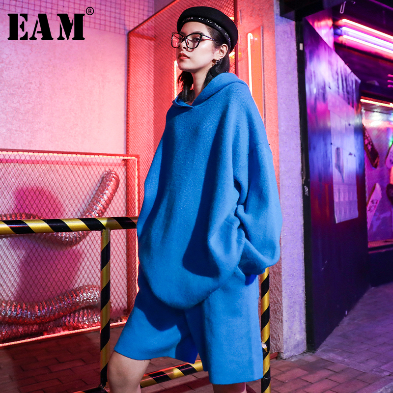 [EAM] Wide Leg Pants Knitted Big Size Two Piece Suit New Hooded  Long Sleeve Loose Fit Women Fashion Spring Autumn 2020 19A-a394