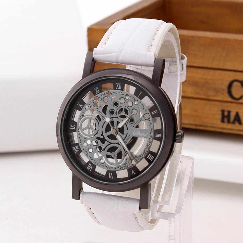 Mode Holle Horloge Mannen Luxe Rvs Quartz Militaire Sport Horloge Lederen Band Dial Horloge montre giet homme # N03