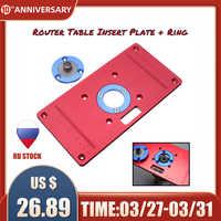 Placa de inserção de mesa de roteador de alumínio com 2 anéis de inserção de roteador para bancos de madeira roteador rt0700c vermelho