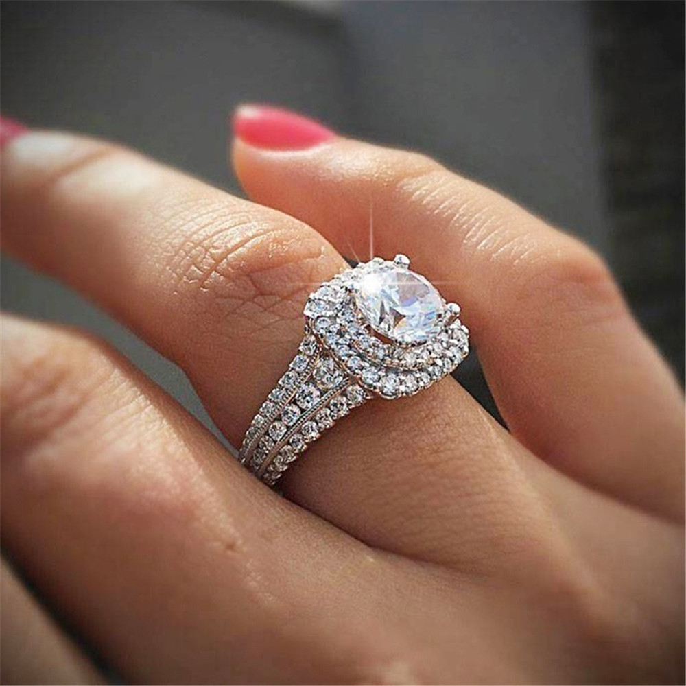 Luxury 925 Silver Engagement Ring Diamond White Gold Jewelry