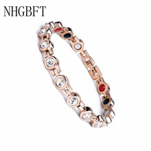NHGBFT Women Bracelet Health Germanium CZ Bracelet stainless steel Rose gold Magnetic Therapy Bangles Men Jewelry