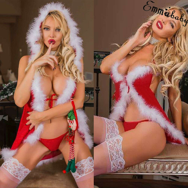 Meihuida <font><b>Women</b></font> <font><b>Sexy</b></font> Lingerie Santa Claus Christmas Red Babydoll <font><b>Dress</b></font> Sleepwear Underwear Sets Christmas Party Erotic Wear image