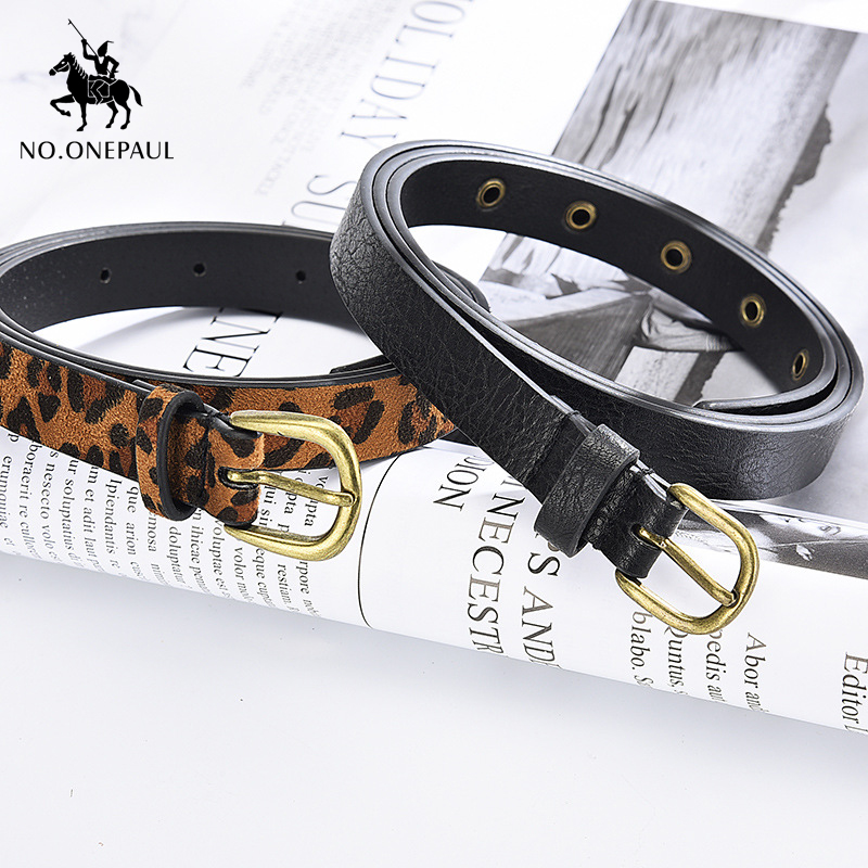 NO.ONEPAUL New Women Belt Leopard Trend High Quality Ladies Fashion Leather Thin Belt Alloy Pin Buckle Material With Slim Jeans