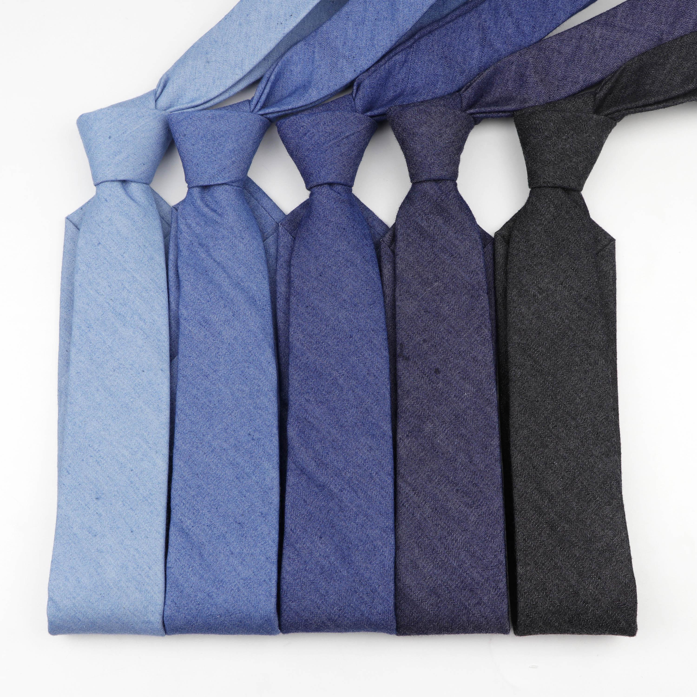 Cotton Denim Ties Men's Solid Color Tie Narrow 6cm Width Necktie Slim Skinny Cravate Narrow Thick Neckties
