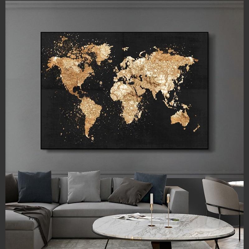 Abstrait carte du monde toile peinture rétro affiches et impressions moderne mur Art photo pour salon étude décor à la maison