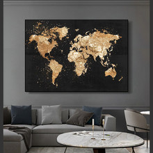 Abstract World Map Canvas Painting Retro Posters and Prints Modern Wall Art Picture for Living Room Study Home Decor
