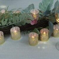 24 flammenlose Flackern LED Tee Licht Batterie Betrieben Kerzen  Halter und Gold Dekorative Votiv Wraps Weihnachten Dekoration Ca -