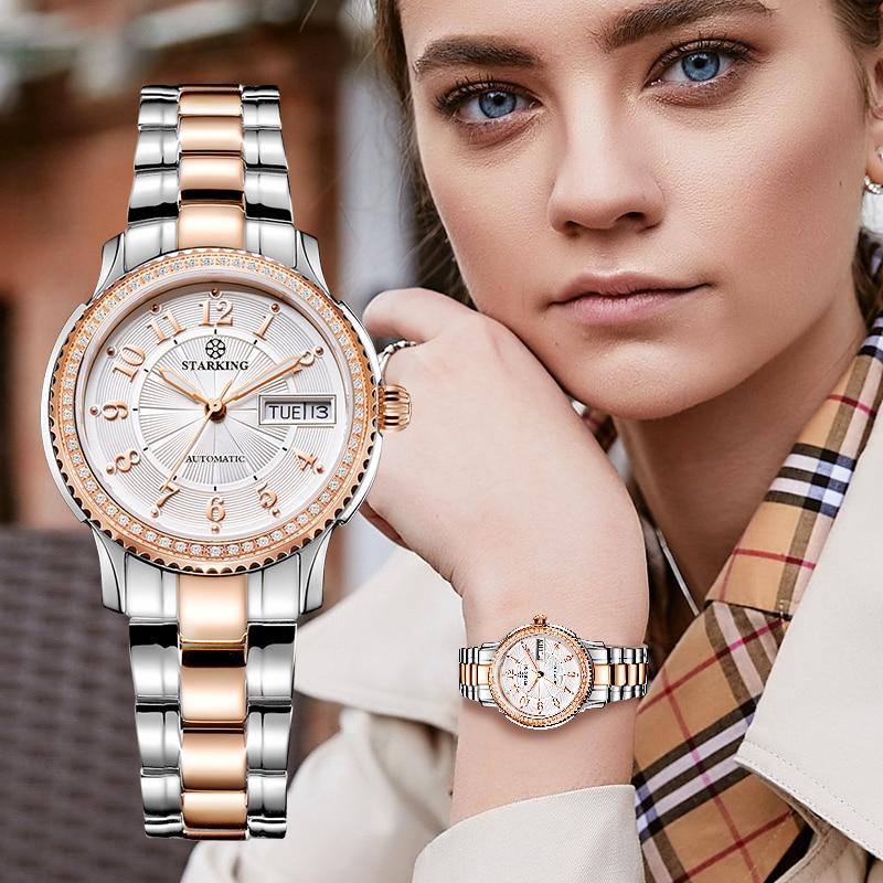 STARKING Women Mechanical Watch Miyota Movt Stainless Steel Wristwatch Sapphire Automatic Self-wind Bracelet Relogios Femininos