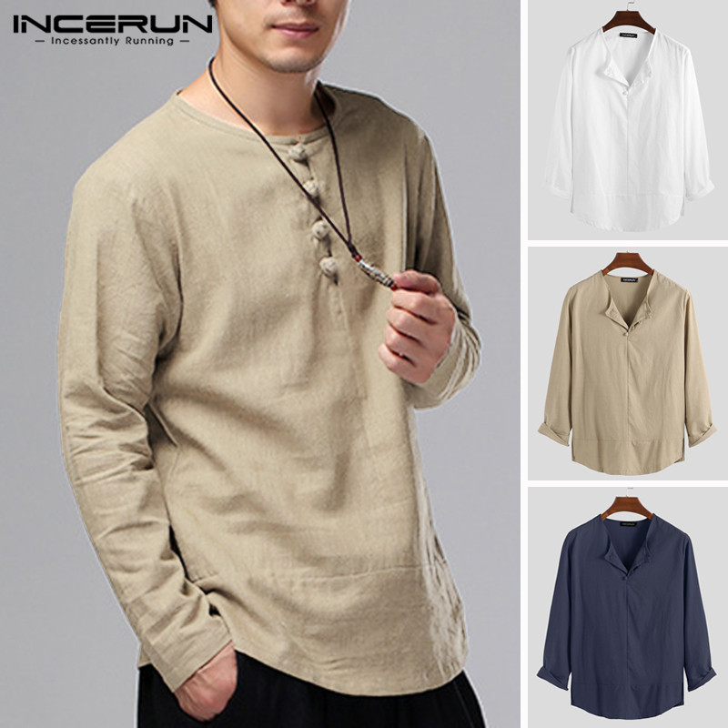 INCERUN Chinese Style Men Shirt Button Long Sleeve Solid Color Leisure Casual Kung Fu Tops Retro Mens Cotton Shirts Camisa 2020