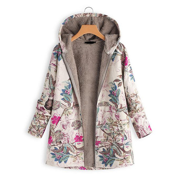 2020 New Women Winter Warm Floral Hooded Jacket Flower Print Hoody Vintage Oversized Coats Padded Parkas - discount item  18% OFF Parkas