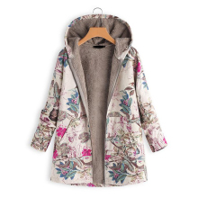Chaqueta con capucha de invierno para mujer, cálido estilo Floral, capucha con estampado de flores, abrigos Vintage de gran tamaño, chaqueta acolchada, Parkas para mujer 2021