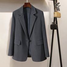 Women Jacket Elegant Blazer Notched Long-Sleeve Korean-Style Cardigan Spring Solid-Color